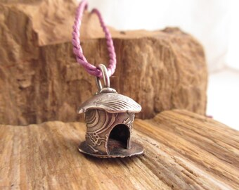 Shell House 999FS Charm With Sapphire OOAK Handcrafted Gifts for Her By Leaping Frog Designs