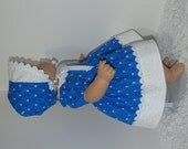 Blue and White Dress, Bonnet, and Bloomers, Fits 15 Inch American Girl Bitty Dolls