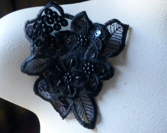 Beaded Lace Flower Applique in Black Organza for Lyrical Dance, Garments, Costumes BLA