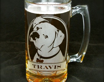 Personalized Boxer Dog Beer Mug, Engraved Gift for Dog Lover, Etched Glass Beer Stein