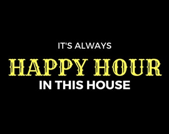 Cute Happy Hour DIGITAL DOWNLOAD Black White and Yellow Art Print