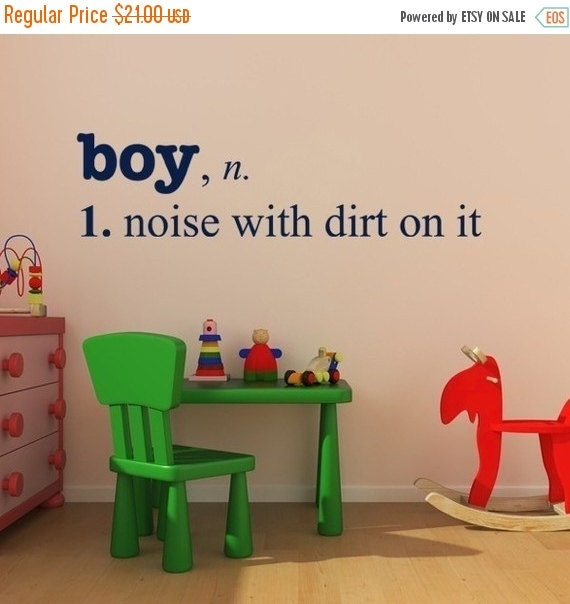 ON SALE Boy with Dirt definition, noise with dirt on it  LARGE sticker, boys room, nursery decor, boys room decal, playroom decor, vinyl wal