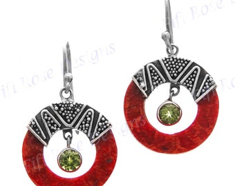 """7/8"""" Red Coral Peridot 925 Sterling Silver Earrings"""