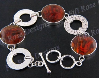 "7""-7.5"" Orange Paua Abalone Shell 925 Sterling Silver Bracelet"
