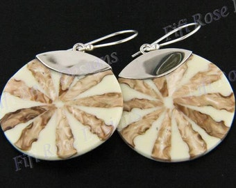 "1 3/16"" Cream Cone Shell Dangling 925 Sterling Silver Earrings"