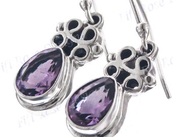 "13/16"" Teardrop Purple Amethyst 925 Sterling Silver Earrings"