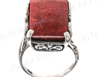 Bright Red Coral 925 Sterling Silver Sz 8 Ring