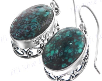 """9/16"""" Design Turquoise 925 Sterling Silver Earrings"""