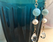 Russian Crystal-Glass-Real Pearl Earrings, Wedding Jewelry, Formal Earrings, Party Jewelry