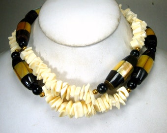 OxBone, Horn and Mother of Pearl Tribal Bead Necklace, 1980s Black White and Cream Boho Long Beads