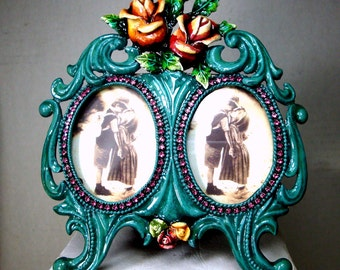 Turquoise Enamel Double Picture Frame, Desk Style, with Roses Embellishments and Rhinestones, Pink Teal Turquoise White
