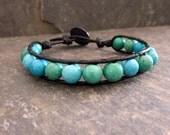 Wrap Bracelet - Blue Beaded Bracelet - Leather Unisex  - Beaded Bracelet - Green  Bracelet -Leather Jewelry