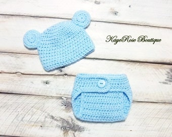 Newborn to Three Month Old Crochet Baby Bear Hat and Diaper Cover Set Baby Blue
