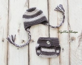 Preemie Baby Boy Crochet Ear Flap Hat and Diaper Cover Set Gray and Light Gray Stripes