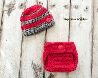 Newborn Baby Boy Crochet Hat and Diaper Cover Set Red and Gray Stripes