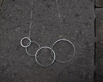 Circle Necklace - Sterling Silver, ETERNITY Circle Necklace, Interlocking Four Circle Necklace