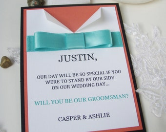 Male Bridal Party Invitation 4x5.5- Will you be my- Bestman- Groomsmen- Ring Bearer- Bow tie