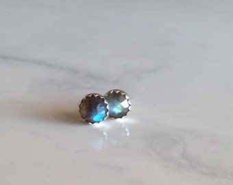 Faceted Labradorite and Sterling Studs
