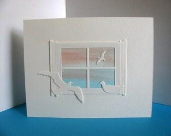 Ocean Mini Watercolor Painting through Window, 3 Sea Birds on Creamy Ivory Card / Pastel Blues, Peach / Shore, Beach, Bon Voyage, Travel
