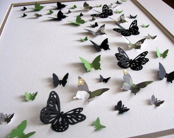 11x14 Black, Green, Gray 3D Butterfly Art / Butterfly Wall Art / Home Decor / Ready to Ship as Shown or Your Choice of Custom Colors