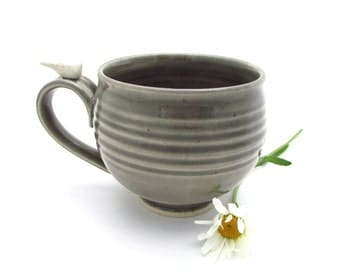 Large Handmade Mug in Storm Cloud Gray with a White Bird