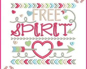 Free Spirit Tribal Arrows Word Art Applique 4x4 5x7 6x10 7x11 Machine Embroidery Design