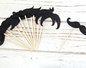 Mustache cupcake toppers - Black Glitter - Assorted set of 12