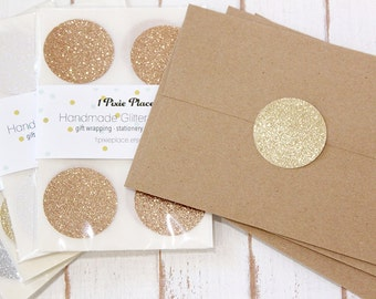"Glitter Round Stickers - 1  1/2"" Round Stickers - Choose your color"