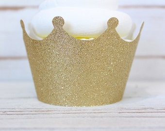 Glitter Crown Cupcake Wrappers - Set of 6  - Gold or Silver