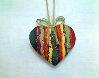 Fall Heart Ornament | Thanksgiving Decor | Fall Decor | Party Favor | Fabric Ornament | Tree Ornament |Peg Shelf Accent |Halloween Decor |#3