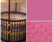 Custom Round Crib Bedding in Fuchsia and Gray Made to Order