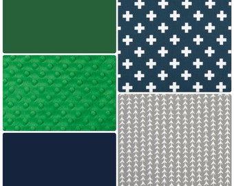 Navy Kelly Green and Gray Baby Boy Crib Bedding Set Made to Order