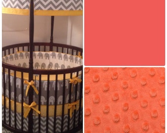 Coral and Gray Round Crib Bedding Set Made to Order
