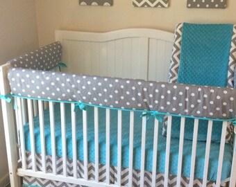 Aqua and Gray Bumperless Crib Bedding Set