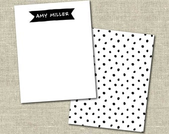 Personalized Set of 20 Black & White Polka Dots with Banner Notecards for Teacher Gift Coworker Gift Thank You Notes or Personal Stationery