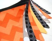 Construction Birthday Party Decoration, Banner Bunting Flags, Dump Truck Decor, Baby Boy Shower, black, gray, orange, yellow fabric