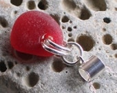 Rare Cherry Red Natural Sea Glass Sterling Silver Pendant Necklace  (728)