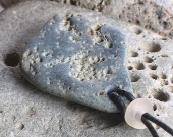 Natural Surf Tumbled Slag Sea Glass Pendant Necklace (699)