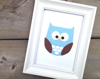 Owl Print, Home Decor, Owl Nursery Decor, Blue Bird Print, Forest Animal Art, Woodland Creature