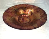 Red Glass Bowl Centerpiece Metallic Exquisite