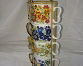 Vintage 1960's Coffee Cups in Metal Rack Retro and Funky