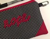 Nope! Felt applique, Clutch, Makeup bag, Change purse, passport cover, travel bag, pencil bag, fabric zipper bag