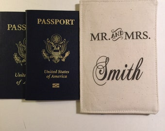 Wedding Gift, Mr and Mrs, Personalized Couples Passport Wallet, multi compartment, Passport Cover