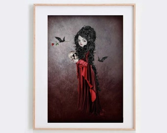 Vampire Art Print - Gothic Print - Vampire & Bat - Wall Decor - Sorry
