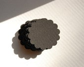 "Black Scalloped Circle Punch Cut Outs -- 1 3/4""  -- Set of 30 -- Ready to Ship"