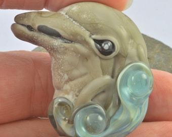 Dolphin Focal Bead Sculpture - Flameworked Glass Bead - Handmade Lampwork Glass Sculpture Bead