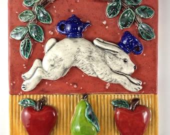 Wall Decor, Ceramic tile, Art Tile, Rabbit with Teapot and Teacup