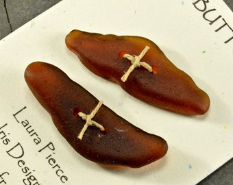 Set of two molasses brown naturally ocean tumbled Maine sea glass toggle buttons