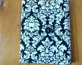Lined Notebook - Black Damask Fabric Covered Composition Book Cover - with pen and composition book, fabric covered notebook