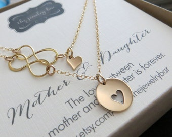 Mother daughter necklace - mother daughter jewelry - infinity heart charm - 14k gf chain